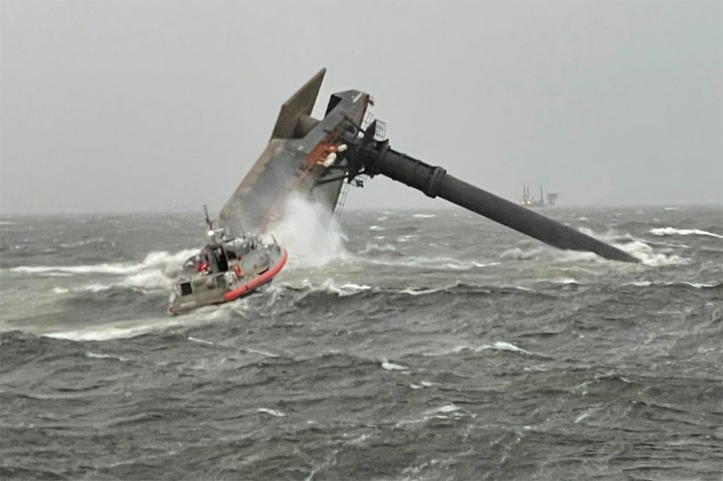 Pictures showing a ship capsizing off Louisiana: dead ...