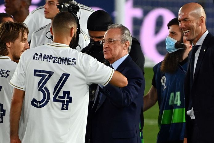 Real president Florentino Perez (center) is the first Super League president.