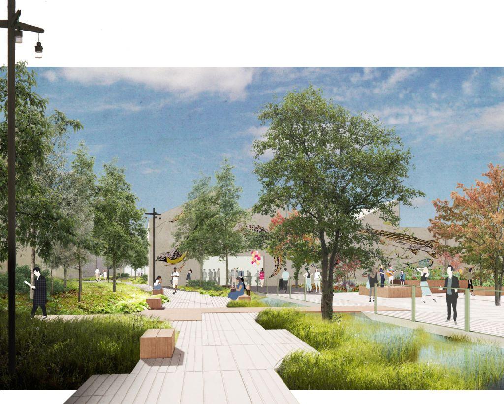 Landscape architects at BRUT and OKRA Heyvaertwijk in Molenbeek give it a green park