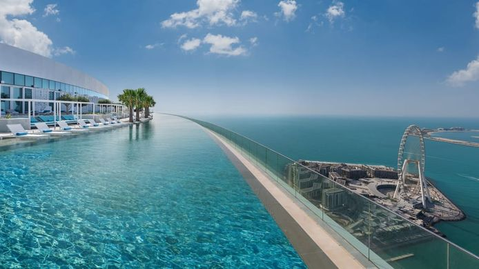 The Infinity Pool is 94.84 meters long and 16.5 meters wide, nearly twice the length of the Olympic pool.