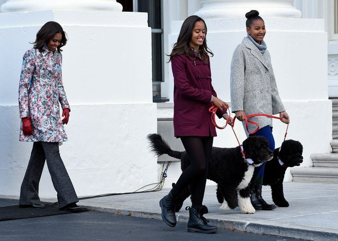 Michelle Obama and her daughters Malia (male) with Bo and Sasha with Sunny in November 2014.