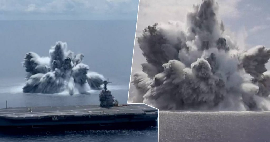 Americans test a new aircraft carrier with huge explosions |  a stranger