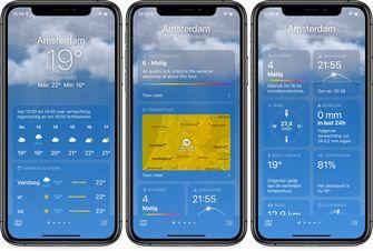 weather app ios 15 main view