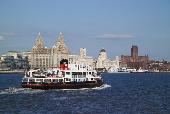 Ferry arrival to Liverpool.