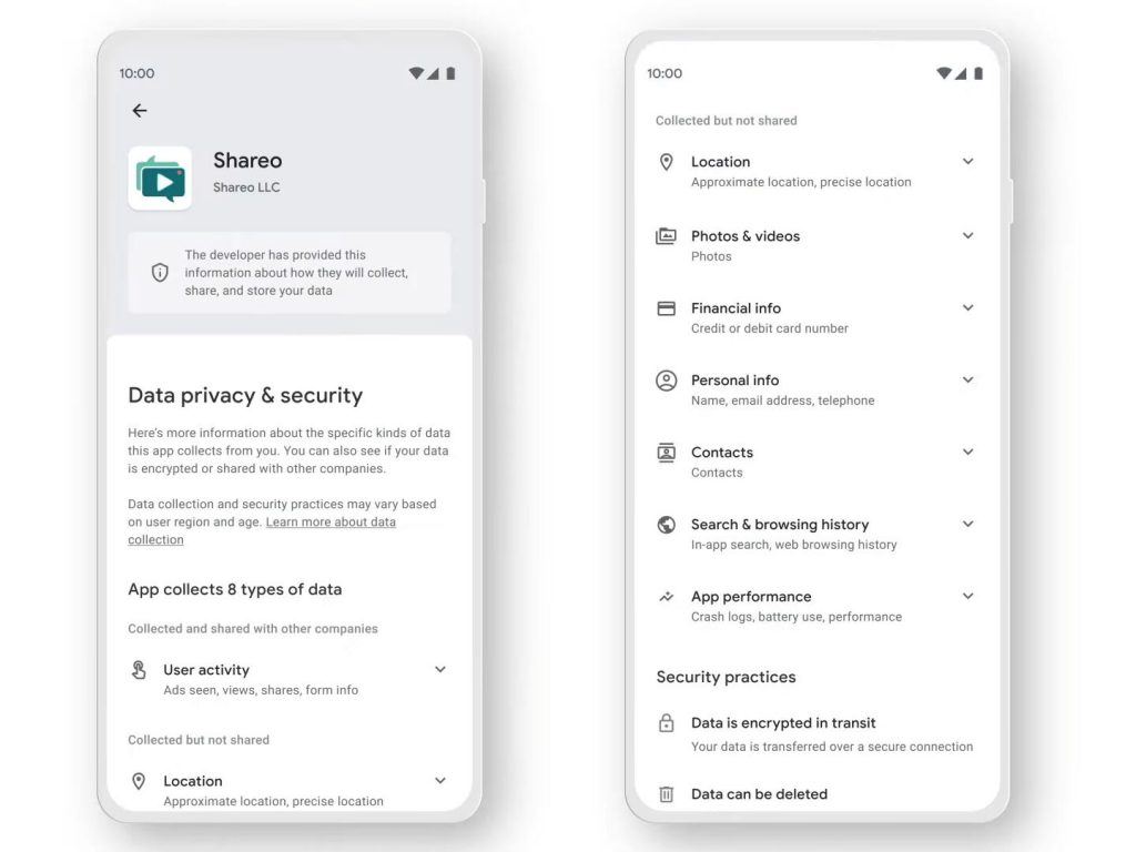 Apps in Google Play will soon require privacy labels