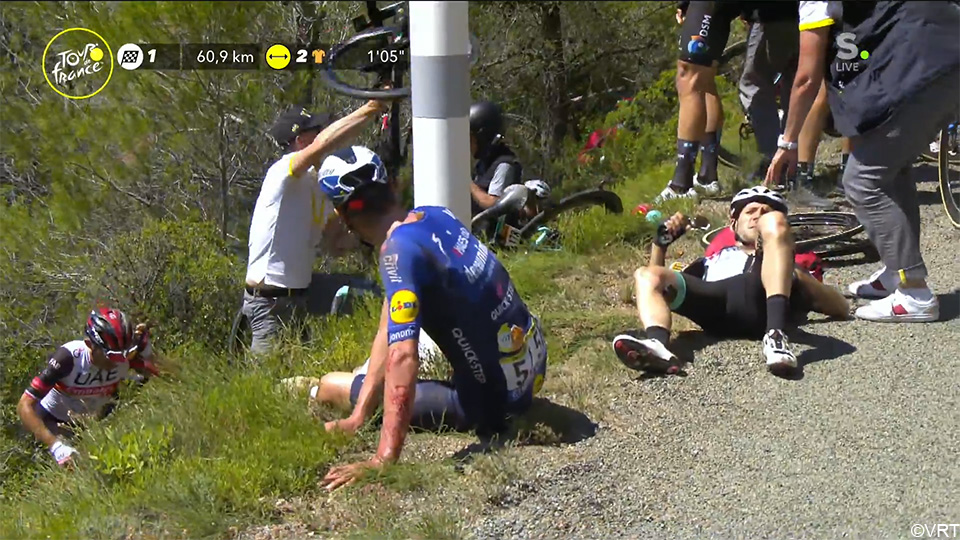 Barguil and Kragh Andersen also surrender after the fall: 'Like a ferret towards a valley' |  Journey