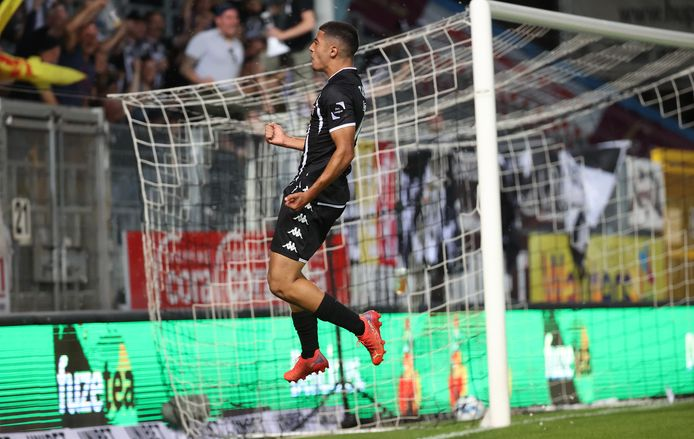 Charleroi player Anas Al-Zarouri celebrates after scoring a goal during a football match between Sporting Charleroi and Royal Antwerp, on Friday, August 13, 2021 in Charleroi, on the fourth day of the Belgian Champions League 2021-2022.  BELGA Photo Virgin Levor