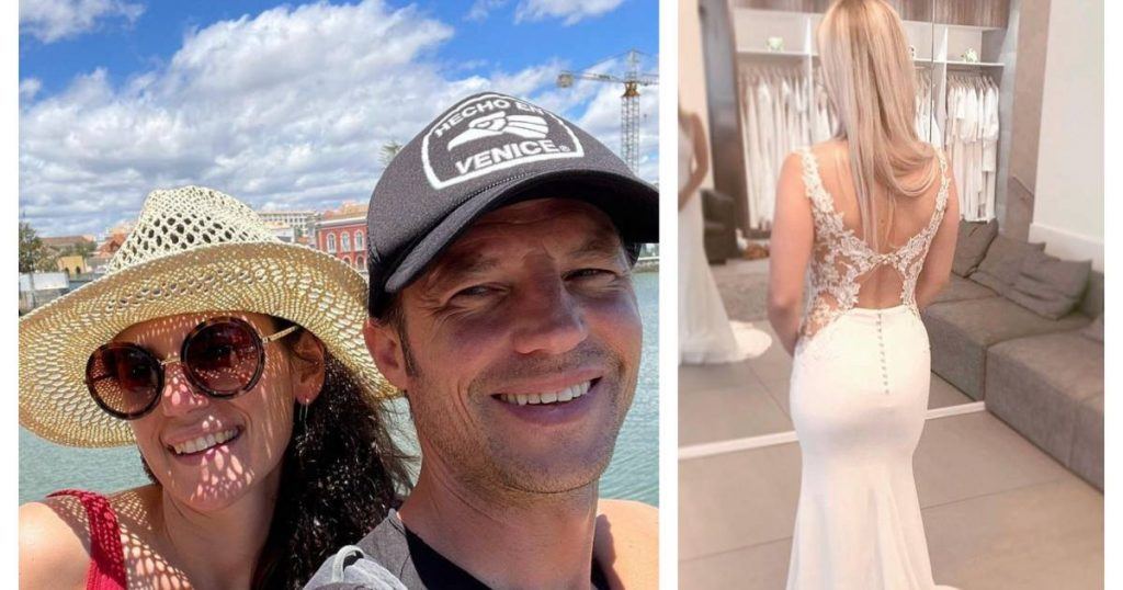 Showbits.  Mathias Coppins takes a picture with his girlfriend for the first time and Laura Likens gives her wedding dress to charity |  showbiz