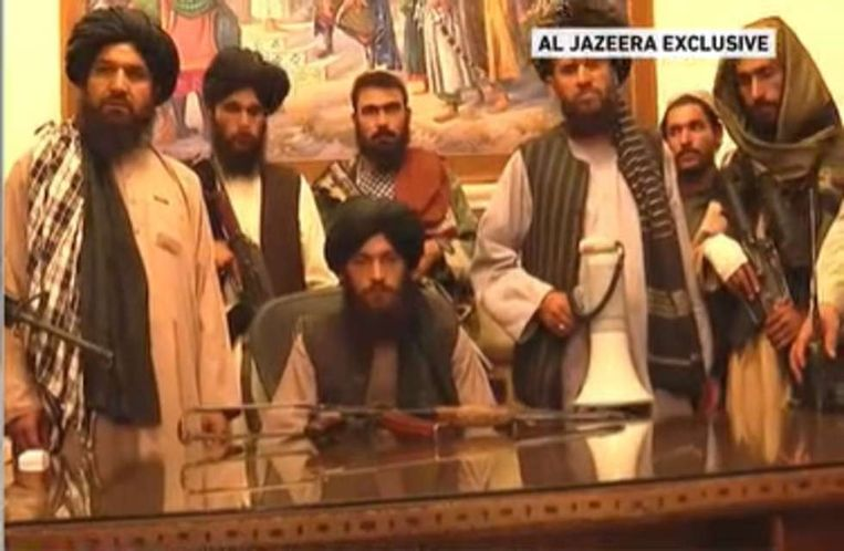 The Taliban announces the Islamic Emirate of Afghanistan from the presidential palace in Kabul