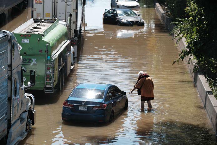 A flooded neighborhood in the Bronx, New York City.