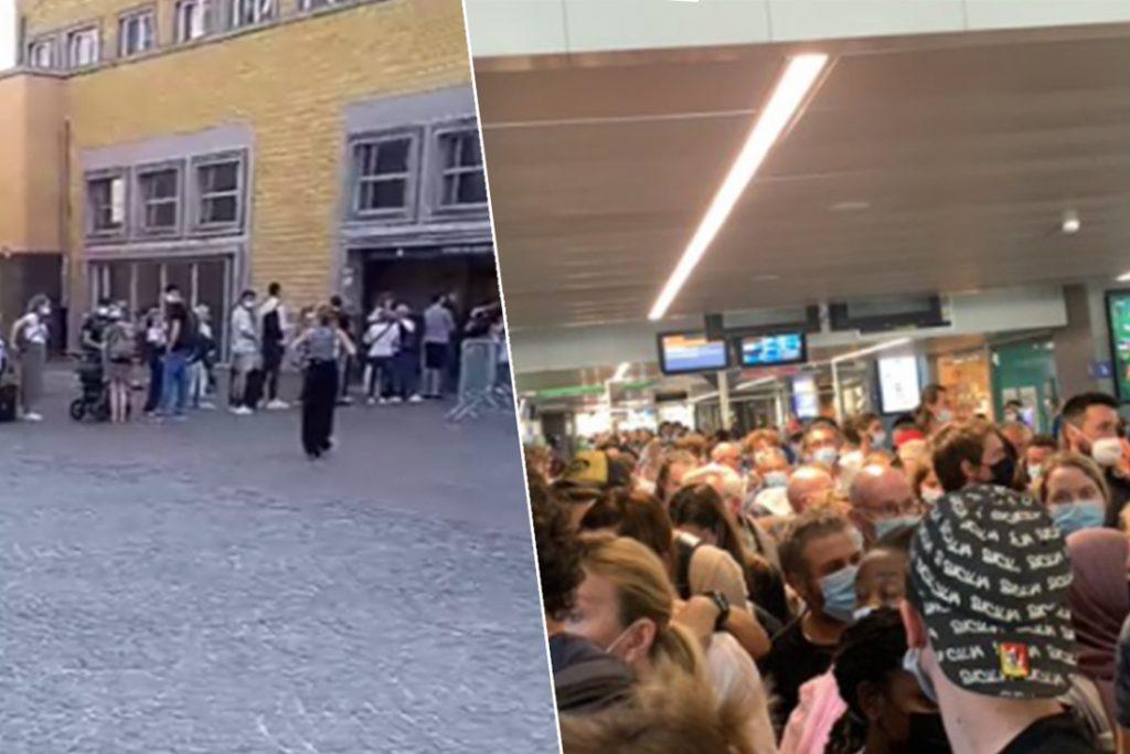 """Ellenlange rijen in station Brugge, reizigers staan tot buiten aan te schuiven: """"Wat een kloteboel"""""""