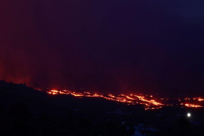 Lava rolls down the hill.