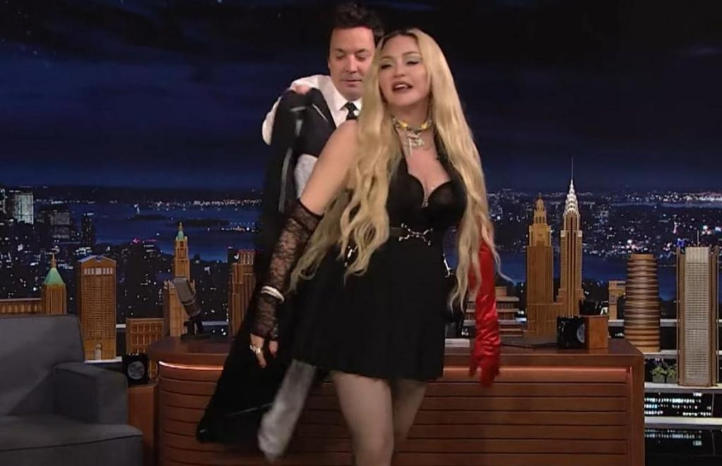 Madonna wears a skirt during a talk show: 'I'm too old for this' (video)