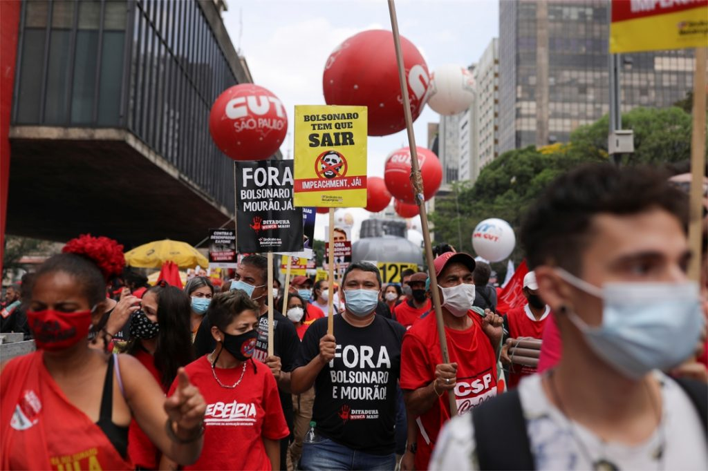 Tens of thousands of protesters call for the impeachment of the Brazilian...